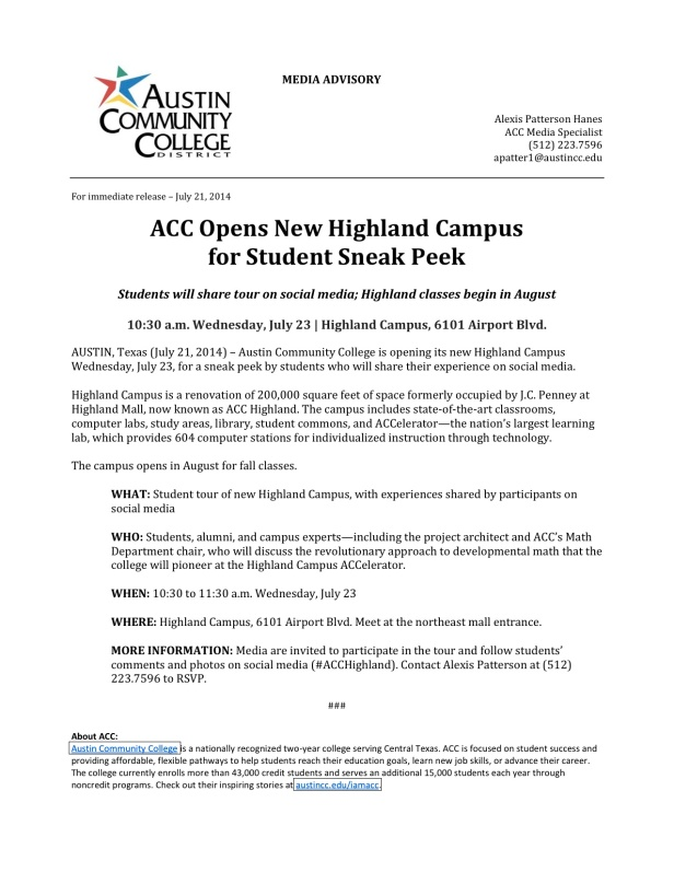 ACC News - ACC Opens New Highland Campus for Student Sneak Peek (July 23)