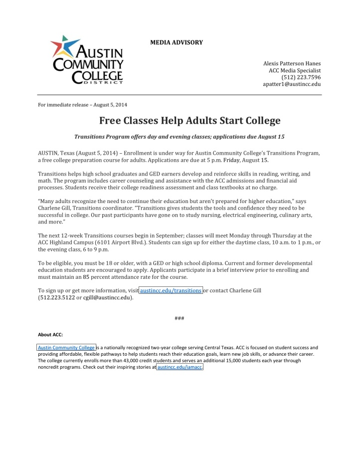 ACC News - Free Classes Help Adults Start College