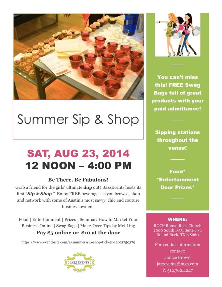 Summer Sip N Shop Flyer 2014