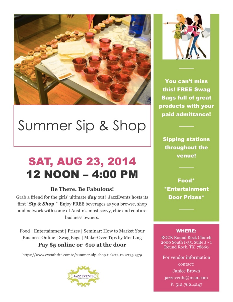 Summer Sip N Shop Flyer 2014